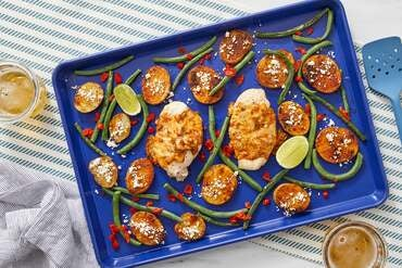 Sheet Pan Cheesy Jalapeño Chicken with Mexican Potatoes & Green Beans