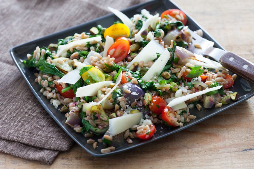 Warm Farro Salad with Peppers & Pistachios