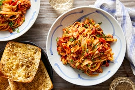 Wild Alaskan Pollock & Fettuccine with Sweet Peppers & Capers