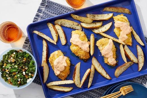 Baked Shawarma-Spiced Chicken with Feta, Kale & Oregano Potatoes