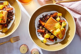 Seared Salmon & Spicy Orange Salsa with Quinoa & Carrot Salad