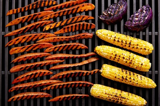 Grill the corn, cabbage & sweet potatoes