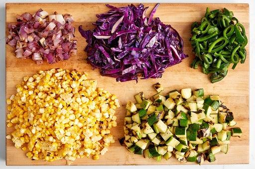 Make the corn salad & cucumber slaw