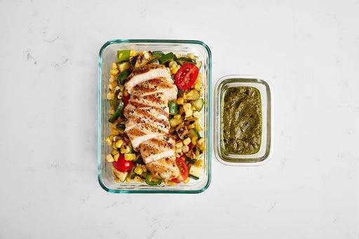 Assemble & store the Oregano Chicken & Corn Salad