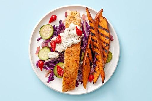 Finish & serve the Salmon & Spicy Tzatziki