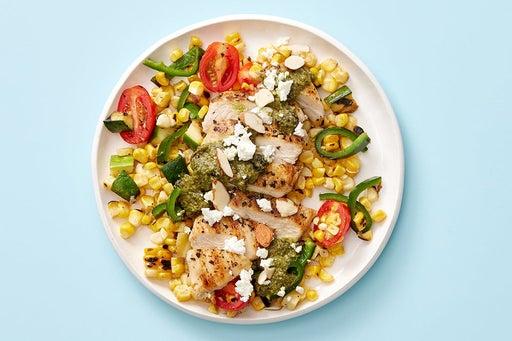 Finish & serve the Oregano Chicken & Corn Salad