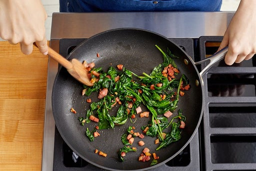 Cook the pancetta & spinach