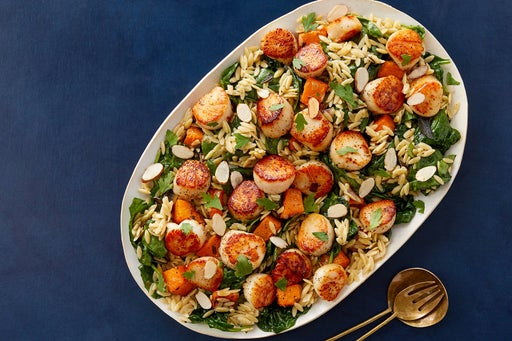 Seared Scallops & Truffle Orzo with Spinach, Shallot & Butternut Squash