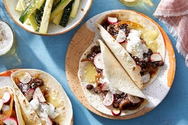 Spicy Black Bean & Caramelized Onion Tacos with Marinated Zucchini