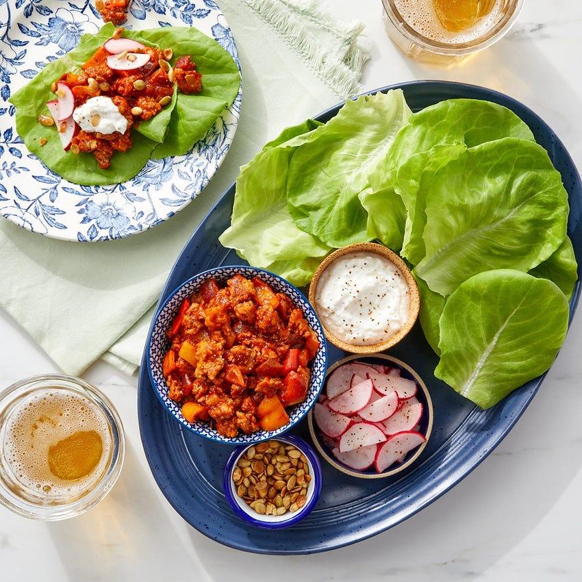 Guajillo-Honey Turkey Lettuce Wraps with Marinated Radishes & Pepitas