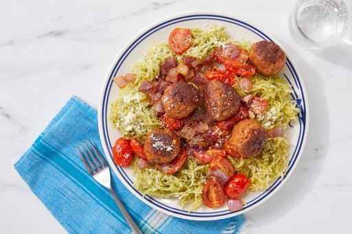 Pork Sausage Meatballs & Pesto Spaghetti Squash with Parmesan
