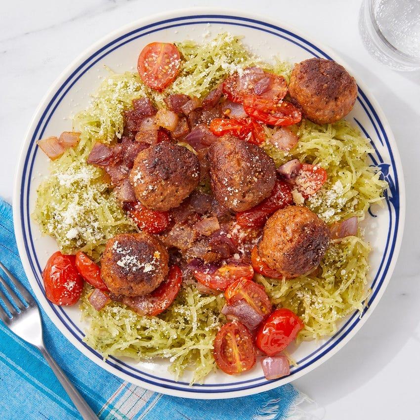 Sausage Meatballs & Pesto Spaghetti Squash with Parmesan