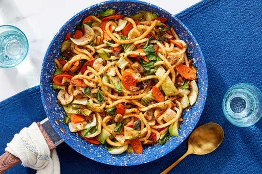 One-Pan Udon Noodle & Spicy Peanut Stir-Fry with Mushrooms, Carrots & Bok Choy