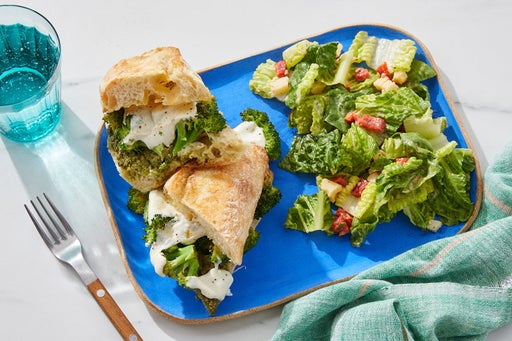 Basil Pesto & Broccoli Sandwiches with Romaine & Roasted Red Pepper Salad