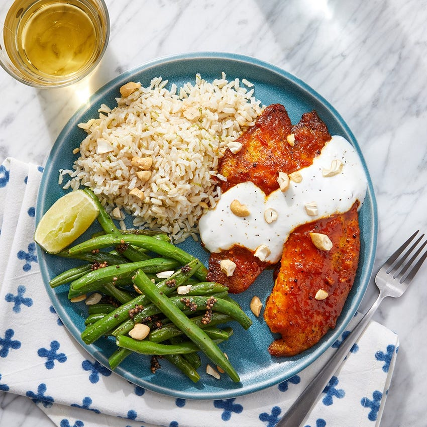 Tomato Achaar Glazed Tilapia & Lime Rice with Mustard Seed Green Beans