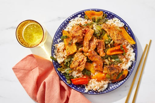 Chicken Teriyaki & Aromatic Rice with Bok Choy & Sweet Peppers