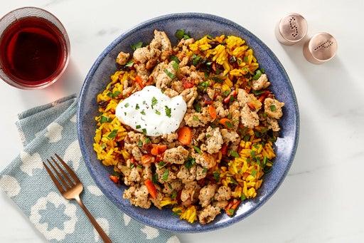Turkey & Shawarma-Spiced Rice with Carrots, Currants & Lemon Labneh