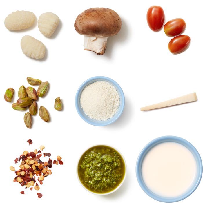 Salsa Verde Gnocchi with Mushrooms & Pistachio Breadcrumbs