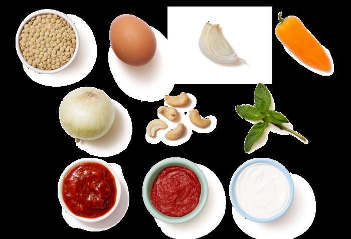 Sweet Peppers & Lentils with Cashews, Yogurt, & Mint