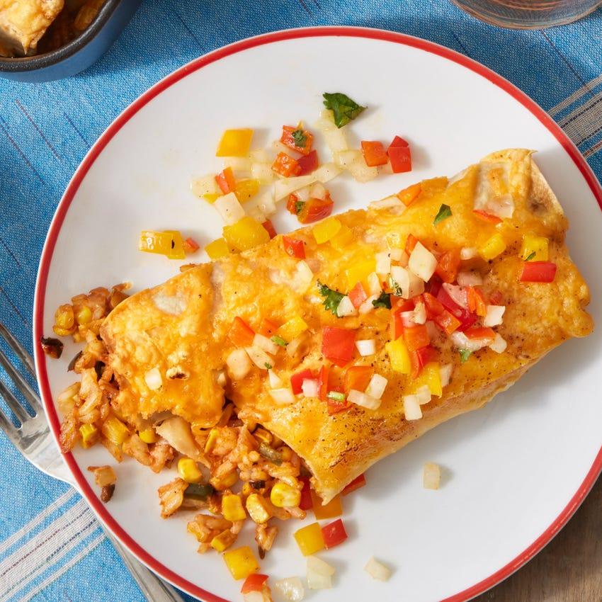 Poblano, Corn & Cheese Enchiladas with Sweet Pepper Salsa