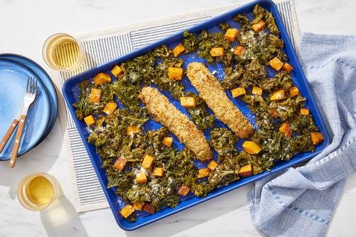 Baked Parmesan & Panko-Crusted Salmon with Squash & Garlic Kale