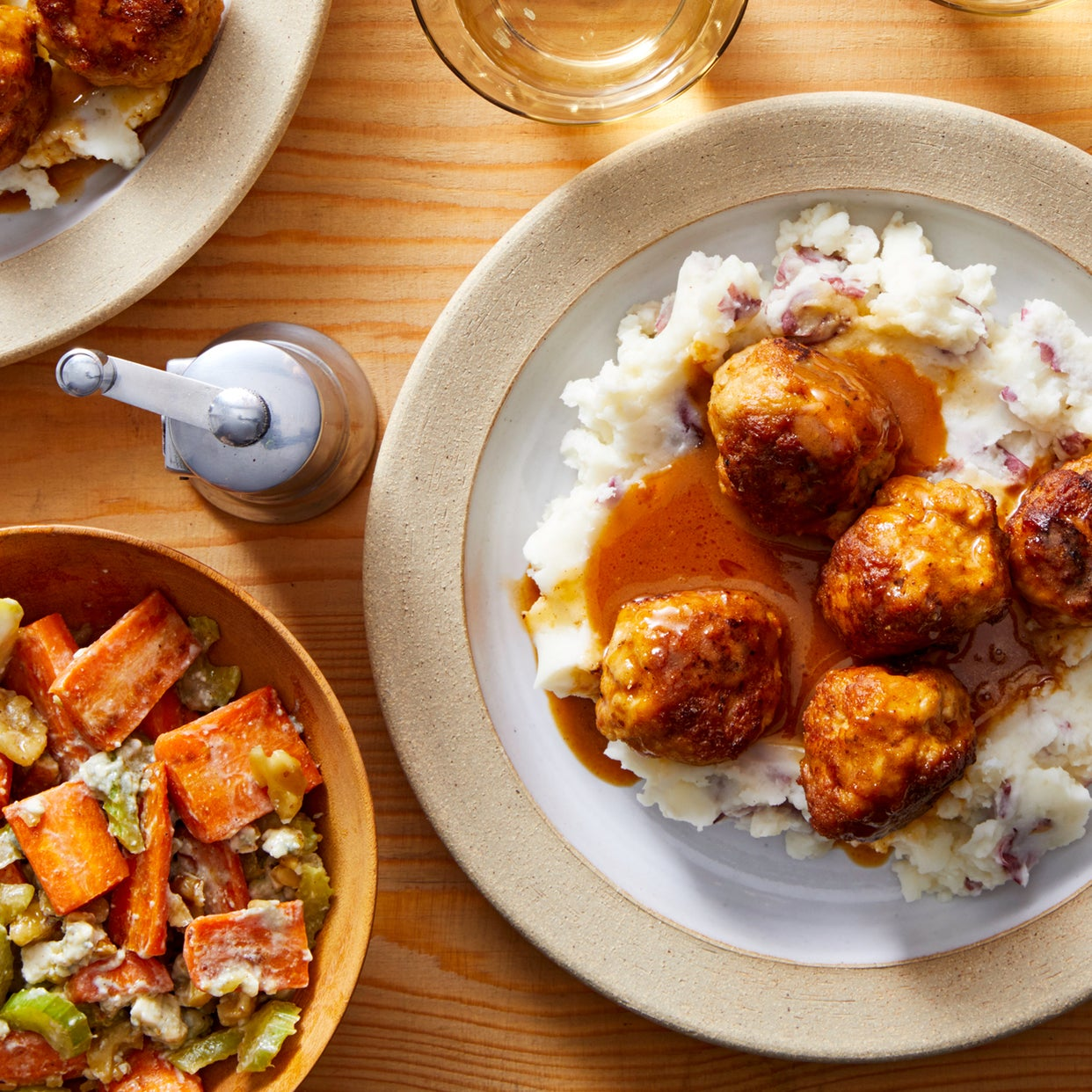 Buffalo Chicken Meatballs with Creamy Mashed Potatoes & Carrot-Celery Salad