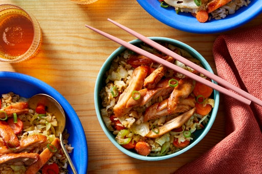 Sweet Chili & Hoisin-Glazed Chicken Thighs with Vegetable Fried Rice