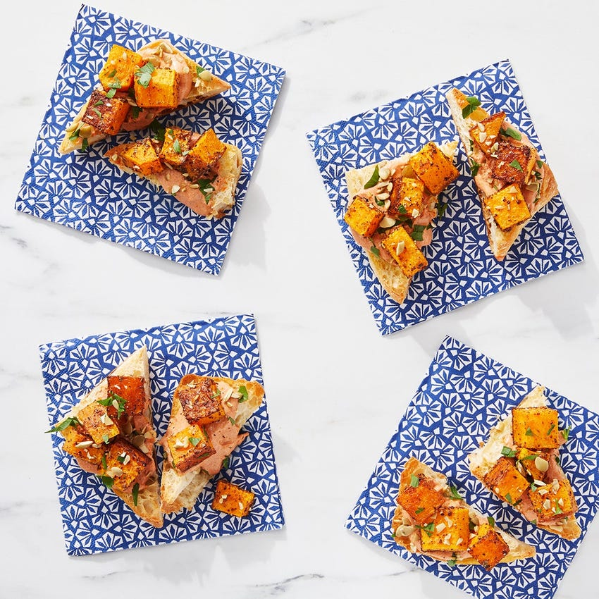 Roasted Butternut Squash Toasts with Harissa Labneh
