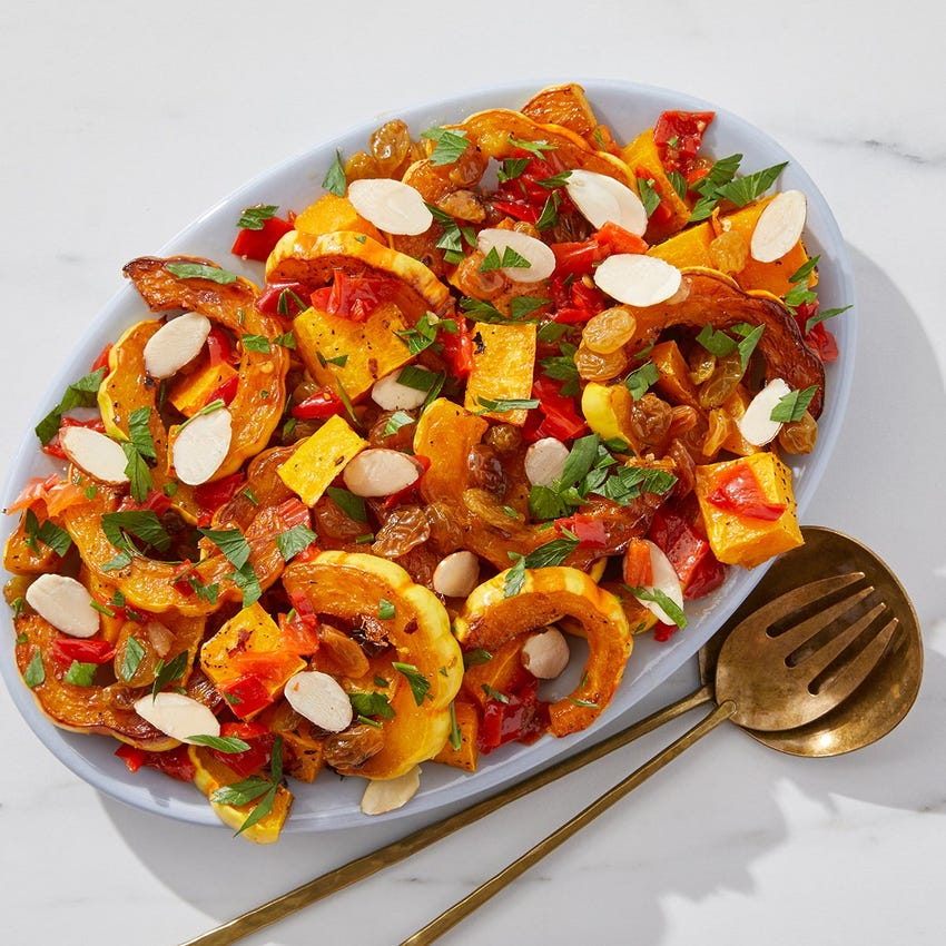 Roasted Delicata & Butternut Squash with Golden Raisin Agrodolce