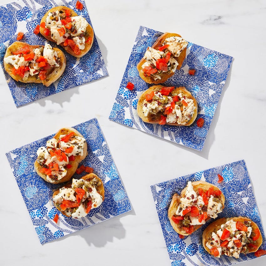 Marinated Mozzarella Toast with Pickled Peppers & Capers