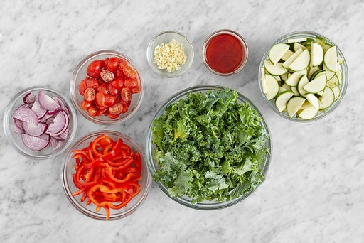 Prepare the remaining ingredients & make the vinaigrette