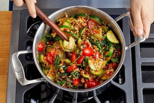 Cook the zucchini & finish the farro