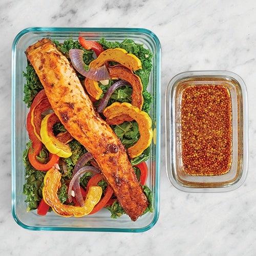Assemble & Store the Cajun Salmon & Sautéed Vegetables