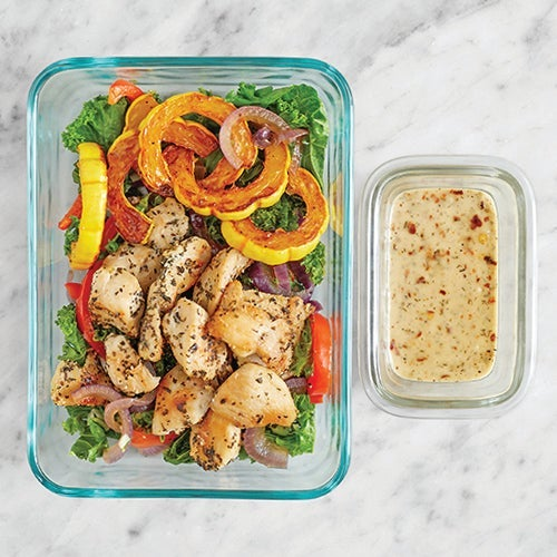 Assemble & Store the Chicken & Spicy Green Goddess Dressing