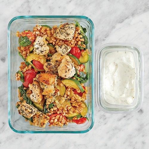 Assemble & Store the Sautéed Chicken & Farro Salad