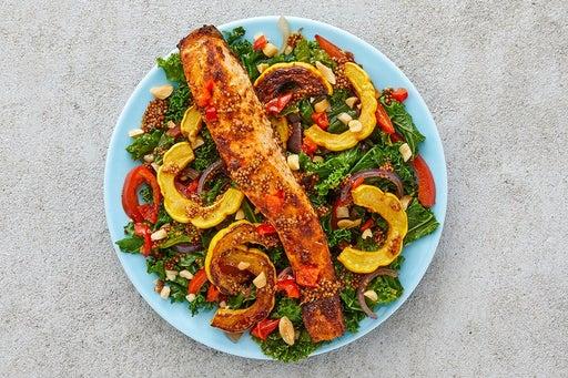 Finish & Serve the Cajun Salmon & Sautéed Vegetables