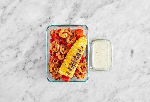 Assemble & store the Shrimp Tacos & Tomatillo Sour Cream