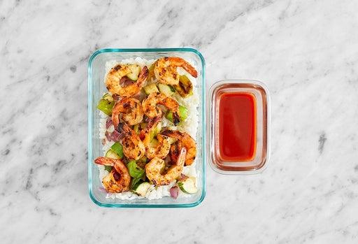 Assemble & store the Togarashi Shrimp & Rice