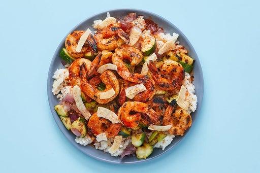 Finish & Serve the Togarashi Shrimp & Rice