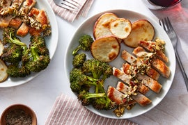 Florentine Pork Chops & Salsa Verde with Roasted Vegetables