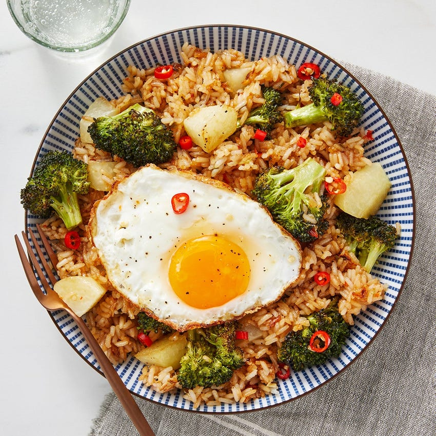 Spicy Vegetable Fried Rice with Eggs & Bird's Eye Chile Pepper