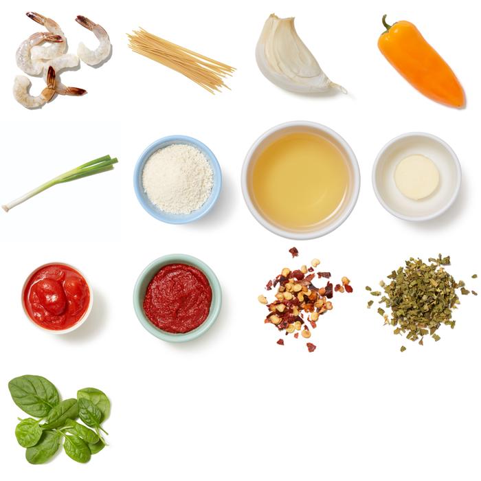 Shrimp & Tomato Bucatini Pasta with Oregano Breadcrumbs & Spinach