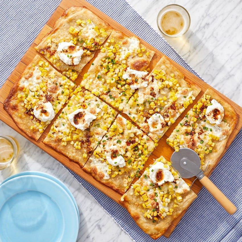 Hot Truffle Honey White Pizza with Sweet Corn & Ricotta