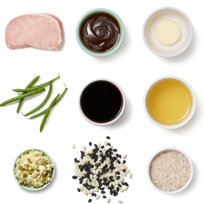 Hoisin & Ponzu-Glazed Salmon with Roasted Green Beans & Garlic-Ginger Rice