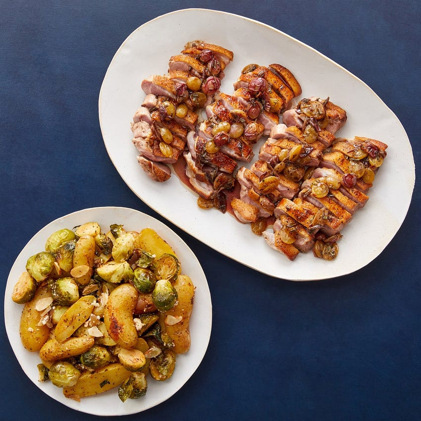 Seared Duck & Brown Butter Grape Pan Sauce with Roasted Brussels Sprouts & Potatoes