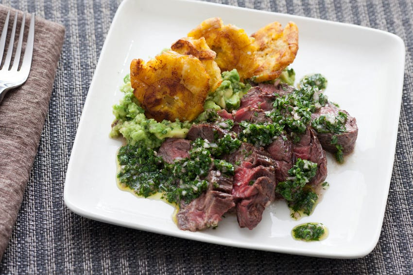 Hanger Steak with Salsa Verde & Plantains