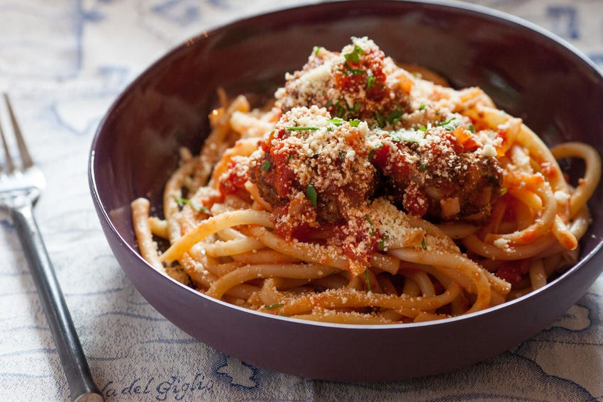 "Perciatelli Pasta  with Red Quinoa ""Meatballs"""