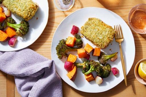 Sheet Pan Pesto Salmon with Roasted Vegetable Medley