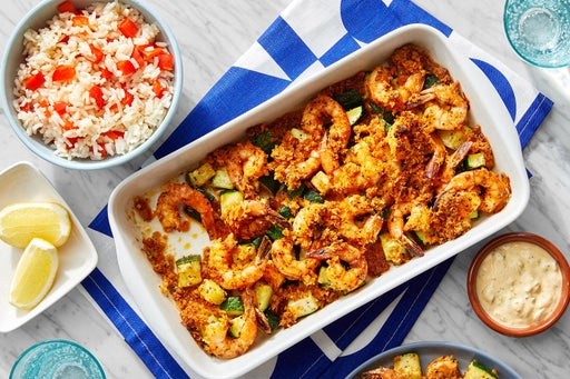 Cajun Shrimp & Zucchini Bake with Remoulade & Pepper Rice