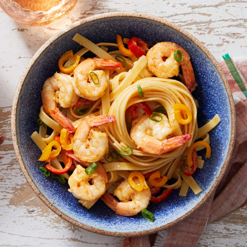 Zesty Shrimp & Fettuccine with Calabrian Chile & Sweet Peppers